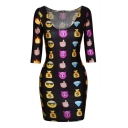 Sexy Emoji Print U Neck Half Sleeve Bodycon Dress