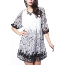 1/2 Sleeve Mono Flower Lace Insert Min Column Dress