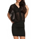 Black Plain V-Neck Sheer Chiffon Fitted Dress