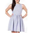 Stripe Print Button Back Pleated Open Back Tank Dress