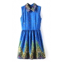 Starry Sky Print Lapel Sleeveless Ruffle Hem Dress