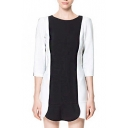 Color Block 3/4 Sleeve A-Line Dress