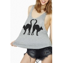 Gray Racer Back Double Cat Print Tank