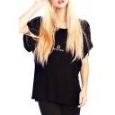 Black Short Sleeve Roll Cuff Libra T-Shirt