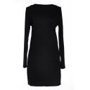 Black Long Sleeve Plain Bodycon Dress