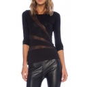 Black Long Sleeve Sheer Net Insert Fitted T-Shirt