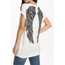 White Short Sleeve Wing Print Back Tunic T-Shirt