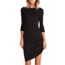 Boat Neck Long Sleeve Side Draped Dress