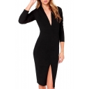 Black V-Neck Long Sleeve Split Mid Dress