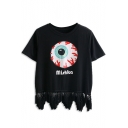 Black Eye Print Short Sleeve Tee with Tassel Hem