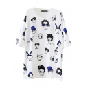 Blue Loose Cartoon Character Print T-Shirt