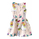 Sketch Dancing Girl Print Sleeveless Fit&Flare Dress