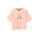 Pink Short Sleeve Yellow Ponytail Girl Crop T-Shirt