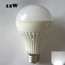 12W 6000K LED Ball Bulb White PC 180° E27