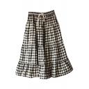 Black Gingham Mori Girl Style A-line Midi Skirt