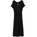 Black Short Sleeve Casual Slim Longline Dress