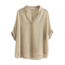 Apricot Roll Cuff V-Neck Mori Girl Blouse