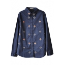 Dark Blue Long Sleeve All Over Tree Embroidered Shirt