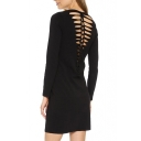 Plain Long Sleeve Round Neck Skinny Dress with Cutout Back