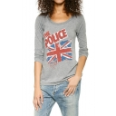 Retro Cutout Back Long Sleeve Graphic Top