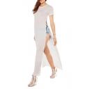 It Style Floor Length High Side Split Short Sleeve Knitted Plain Dress