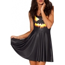 Pumpkin Lantern Print Black Tanks Dress