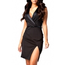 Lapel Cap Sleeve Side Split Wrap Dress with Belt