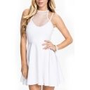 White Plain Net Panel Sleeveless Ruffle Hem Dress