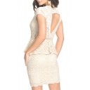 Lace Inserted V-Neck Short Sleeve Peplum Dress with Cutout Back
