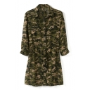 Camouflage Print 3/4 Sleeve Single Breast Gathered Waist Dress