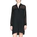 Black Plain Lapel Long Sleeve Shift Loose Dress