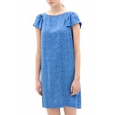 Petal Short Sleeve Blue Background Dot Print Midi Column Dress