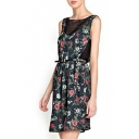 Sleeveless Chiffon&Lace Panel Flower Print V-Back Dress
