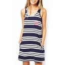 Striped Pocket Sleeveless Round Neck Dress