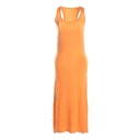 Orange Modal Racerback Tanks Longline Dress