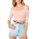 Pink One-Shoulder Cutout Detail Fitted Crop T-Shirt
