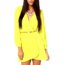 Yellow Wrap V-Neck Long Sleeve Dress