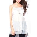 White Gathered Chest Double Layer Lace Panel Camis