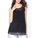 Black Lace Cutwork Neckline Mesh Layer Tanks