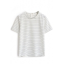 White Striped Zip Back Short Sleeve Tee
