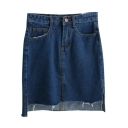Dark Blue Dip Hem Tube Denim Mini Skirt
