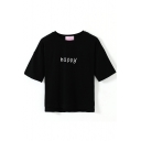 Short Sleeve Happy Print Crop T-Shirt