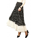 Black Background Vintage Polka Dot Lace Hem Maxi A-line Skirt