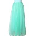 Green Mesh Maxi Skirt