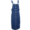 Dark Blue Button Fly Denim Overall Style Dress with Single Pocket