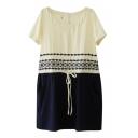 Cream&Dark Blue Block Ethnic Geometry Embroidered Short Sleeve Shift Dress