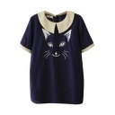 Dark Blue Short Sleeve Cat Embroidered Back Button Fly Blouse