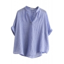 Blue Roll Cuff V-Neck Mori Girl Blouse