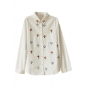 White Long Sleeve All Over Tree Embroidered Shirt