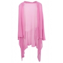 Pink Sun Protection Asymmetric Cardigan